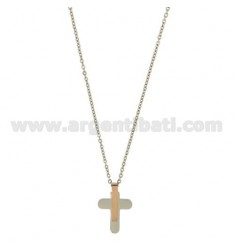 CROSS PENDANT STEEL MM 22x14 WITH ELEMENTS ROSE GOLD PLATED CABLE AND CHAIN 50 CM