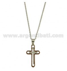 CROSS PENDANT STEEL ROSE GOLD PLATED 32x18 MM WITH ELEMENTS CLAD RUTENIO CABLE AND CHAIN 50 CM