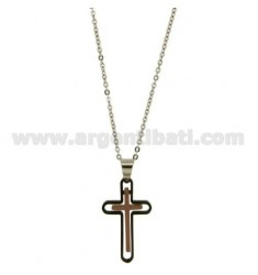 CROSS PENDANT STEEL PLATED RUTENIO MM 32x18 ELEMENTS WITH ROSE GOLD PLATED CABLE AND CHAIN 50 CM