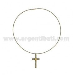 CROSS PENDANT STEEL MM 40x21 C / CRYSTAL AND GOLD TIT 75% AND WIRE MM 2 CM 40
