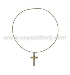 CRUZ colgante de acero 40x21 MM C / cristal y el oro TIT 75% Y CABLE MM 2 CM 40
