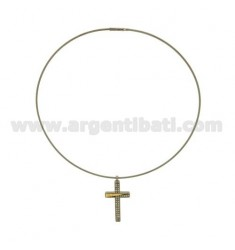 CROSS PENDANT STEEL AND GOLD MM 40x21 ZIRCONS TIT.
