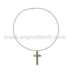 CROSS PENDANT STEEL MM 40x21 ZIRCONS CELESTIAL AND GOLD TIT.