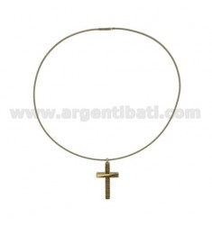 CROSS PENDANT STEEL MM 40x21 ZIRCONS CHAMPAGNE AND GOLD TIT.
