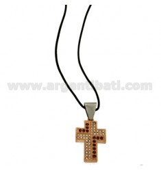 CROSS PENDANT STEEL ROSE GOLD PLATED 23x17 MM AND ZIRCONIA WHITE AND PURPLE WITH LACE SILK CERATA