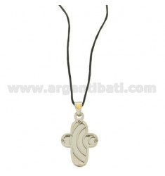 CROSS PENDANT STEEL MM 30x20 WITH POINT Bilamina BRASS AND GOLD AND ELEMENTS WITH SATIN SILK CERATA NECKSTRAP