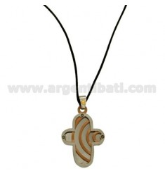 CROSS PENDANT STEEL MM 30x20 WITH POINT Bilamina BRASS AND GOLD ELEMENTS AND SATIN PLATED ROSE GOLD SILK CERATA NECKSTRAP