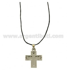 CROSS PENDANT STEEL MM 24x25 WITH POINT Bilamina BRASS AND GOLD AND ELEMENTS WITH SATIN SILK CERATA NECKSTRAP