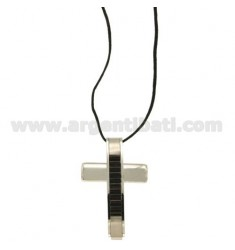 CROSS PENDANT STEEL MM 38x25 INSERTS AND ROLLED RUTHENIUM WITH LACE SILK CERATA