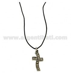 CROSS PENDANT STEEL 20x14 MM AND ZIRCONIA WHITE WITH LACE SILK CERATA