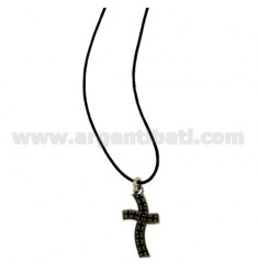 CROSS PENDANT STEEL AND 20x14 MM ZIRCONIA BLACKS WITH LACE SILK CERATA
