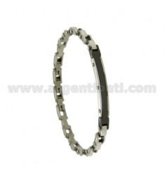 BRACELET IN STEEL PLATE 6 MM WITH BLACK CERAMIC