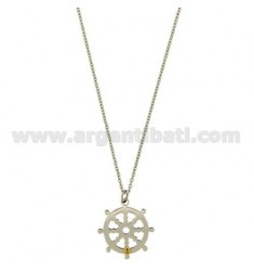 Pendant RUDDER STEEL WITH POINT Bilamina DO BRASS AND GOLD CHAIN CABLE 50 CM