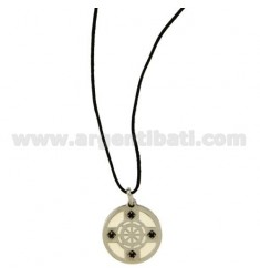 Pendant RUDDER STEEL 22 MM WITH POLISH AND ZIRCONIA WITH LACE SILK CERATA
