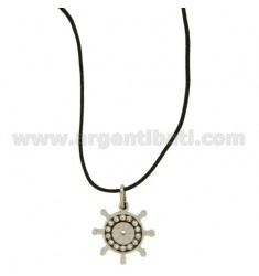 Pendant RUDDER STEEL WITH ZIRCONIA WHITE AND LACE SILK CERATA