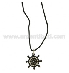 Pendant RUDDER STEEL PLATED RUTHENIUM WITH ZIRCONIA WHITE AND LACE SILK CERATA