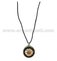 STEEL ROUND PENDANT 20 MM WITH RUDDER CENTRAL GOLD PLATED ROSE AND TOUR OF ZIRCONIA BLACKS WITH LACE SILK CERATA