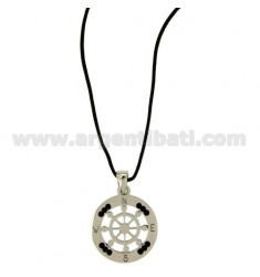 Pendant RUDDER STEEL WITH ZIRCONIA BLACKS AND LACE SILK CERATA