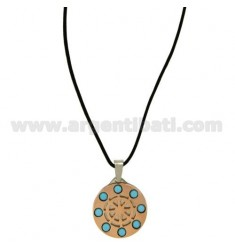 Pendant RUDDER STEEL PLATED ROSE GOLD WITH STONES AND LACE TURQUOISE SILK CERATA