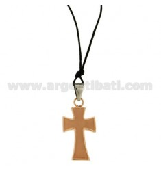 CROSS PENDANT STEEL ROSE GOLD PLATED SATIN AND POLISHED 30x18 MM WITH LACE SILK CERATA