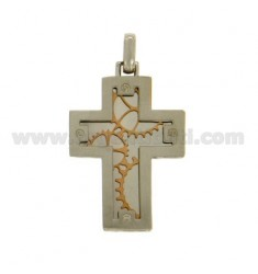CROSS PENDANT STEEL MM 28x20 WITH ROSE GOLD PLATED ELEMENTS