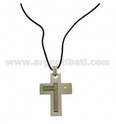 CROSS PENDANT STEEL 35X26 MM WITH POINT Bilamina BRASS AND GOLD WITH LACE SILK CERATA