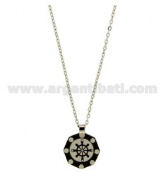 Pendant RUDDER STEEL, POLISH BLACK, ELEMENTS AND ROLLED RUTENIO ply POINT OF BRASS AND GOLD CHAIN CABLE 50 CM