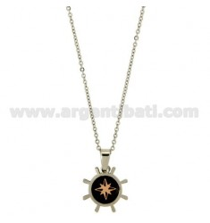 Pendant RUDDER STEEL WITH ELEMENTS PLACCATIRUTENIO CENTRAL AND WIND ROSE ROSE GOLD PLATED CABLE CHAIN 50 CM