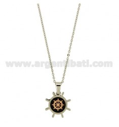 Pendant RUDDER STEEL WITH ELEMENTS AND RUDDER PLACCATIRUTENIO CENTRAL ROSE GOLD PLATED WITH CABLE CHAIN 50 CM