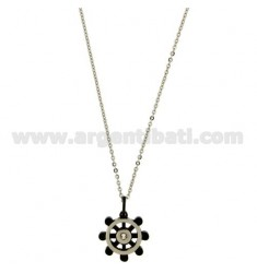 Pendant RUDDER STEEL 18 MM WITH ELEMENTS AND ROLLED RUTENIO ZIRCONE CENTRAL WHITE CHAIN CABLE 50 CM