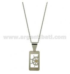 PENDANT RECHTECKIGEN MM 25x14 MIT STEUER UND POINT Bilamina BRASS UND GOLD CHAIN CABLE 50 CM