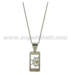 PENDANT RECTANGULAR MM 25x14 WITH RUDDER AND POINT Bilamina BRASS AND GOLD CHAIN CABLE 50 CM