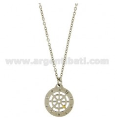 Pendant RUDDER STEEL 24 MM WITH POINT Bilamina BRASS AND GOLD CHAIN CABLE 50 CM
