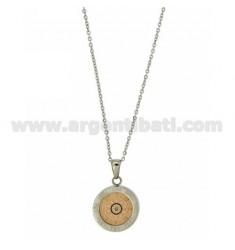 CHAIN CABLE CM 45.50 PENDANT STEUER 18 MM STEEL INSERTS Walzgold pink, blau und Zircone
