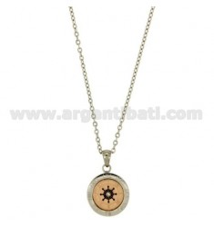 CHAIN CABLE CM 45.50 PENDANT RUDDER 18 MM STEEL INSERTS WITH ROSE GOLD PLATED, BLACK AND GLAZE ZIRCONE