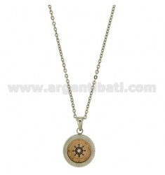 CHAIN CABLE CM 45.50 PENDANT RUDDER 18 MM STEEL INSERTS PLATED ROSE GOLD, ENAMEL AND BLUE ZIRCON