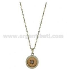 CHAIN CABLE CM 45.50 PENDANT STEUER 18 MM STEEL INSERTS ÜBERZOG ROSE GOLD, Email. und Blue Zircon