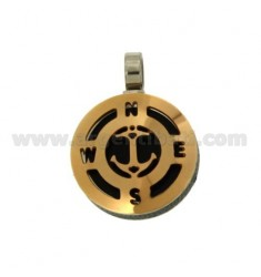 Pendant ANCHOR 22 MM GOLD PLATED ROSE AND INSERTS CLAD RURTENIO