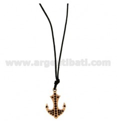 PENDANT STILL IN STEEL PLATED ROSE GOLD ZIRCONIA BLACKS AND LACE SILK CERATA