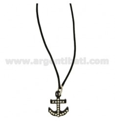 PENDANT STILL IN STEEL PLATED RUTHENIUM WITH ZIRCONIA WHITE AND LACE SILK CERATA
