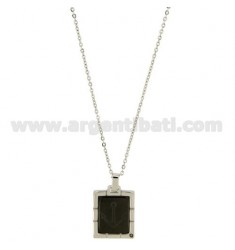 PENDANT RECTANGULAR MM 18x16 STEEL WITH BLACK NAIL POLISH AND STILL WITH CENTRAL CHAIN CABLE 50 CM