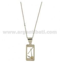PENDANT RECTANGULAR MM 25x14 WITH AGAIN AND POINT Bilamina BRASS AND GOLD CHAIN CABLE 50 CM