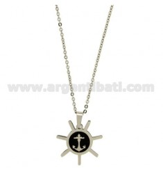 CHARM ROUND WITH STILL IN STEEL AND ENAMEL BLACK WITH CHAIN CABLE 50 CM