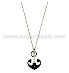 PENDANT STILL MM 24x18 STEEL PLATED RUTHENIUM WITH ZIRCON AND CHAIN CABLE 50 CM