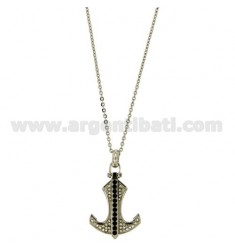 PENDANT STILL MM 30x20 STEEL WITH ZIRCONIA WHITE AND BLACKS AND CHAIN CABLE 50 CM