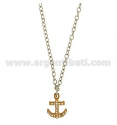STAINLESS STAINLESS PENDANT MM 21X15 ROSE GOLD PLATED AND WHITE ZIRCONIA WITH OVAL ROLO TYPE CHAIN CM 50