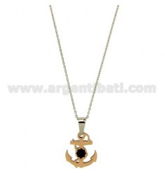 PENDANT STILL IN STEEL 21X18 MM ROSE GOLD PLATED INSERTS CLAD RUTENIO CABLE AND CHAIN 50 CM