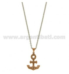 PENDANT STILL GOLD PLATED PINK 24x18 MM WITH ZIRCONIA WHITE AND CHAIN FORXZATINA CM 50