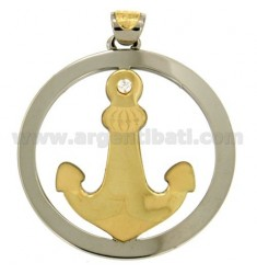 CHARM ROUND WITH STILL IN STEEL AND GOLD TIT 75% 45 MM WITH ZIRCON