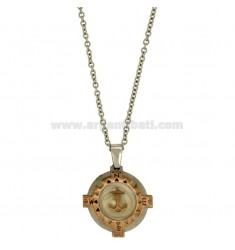 STEEL ROUND PENDANT 28 MM WITH AGAIN AND INSERTS ROLLED GOLD ROSE AND CHAIN Ovalina CM 50